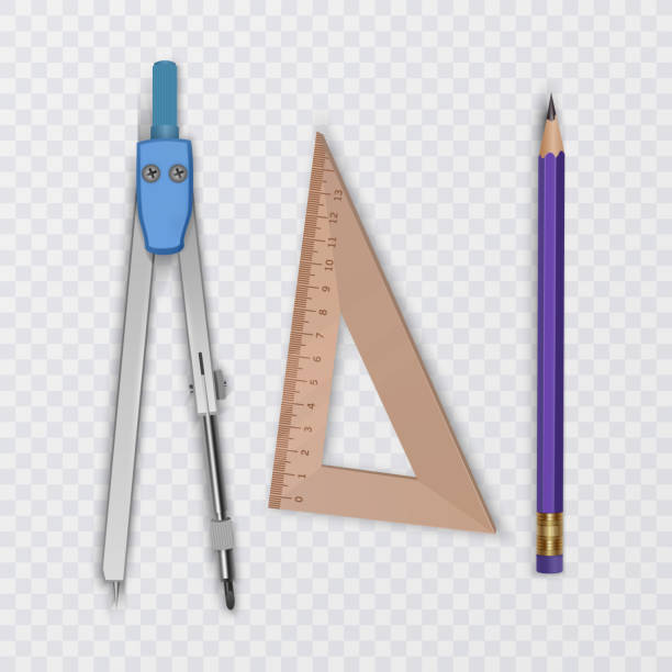 drawing tool kit, compass, pencil and ruler on transparent background, school supplies, vector illustration - architect stock illustrations, clip art, cartoons, & icons