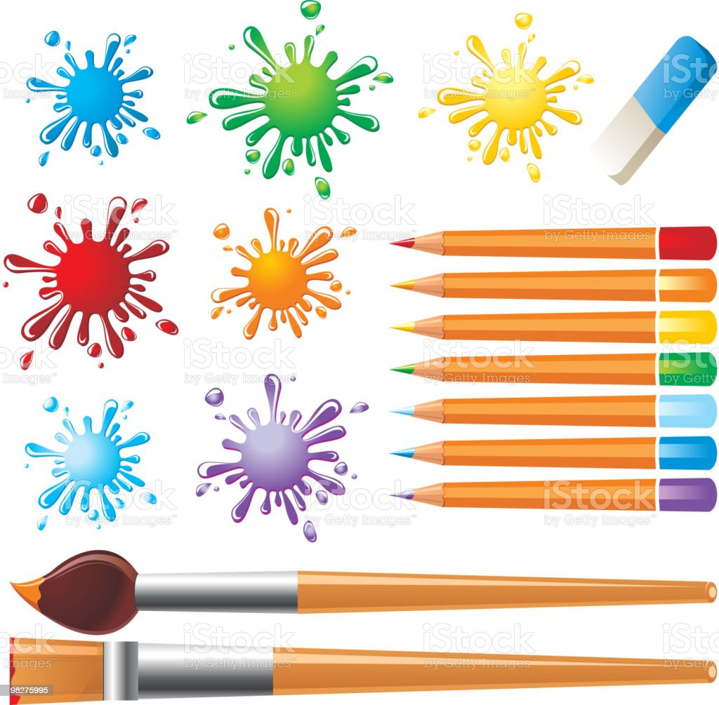 drawing tools and colored blots royalty-free drawing tools and colored blots stock vector art & more images of art
