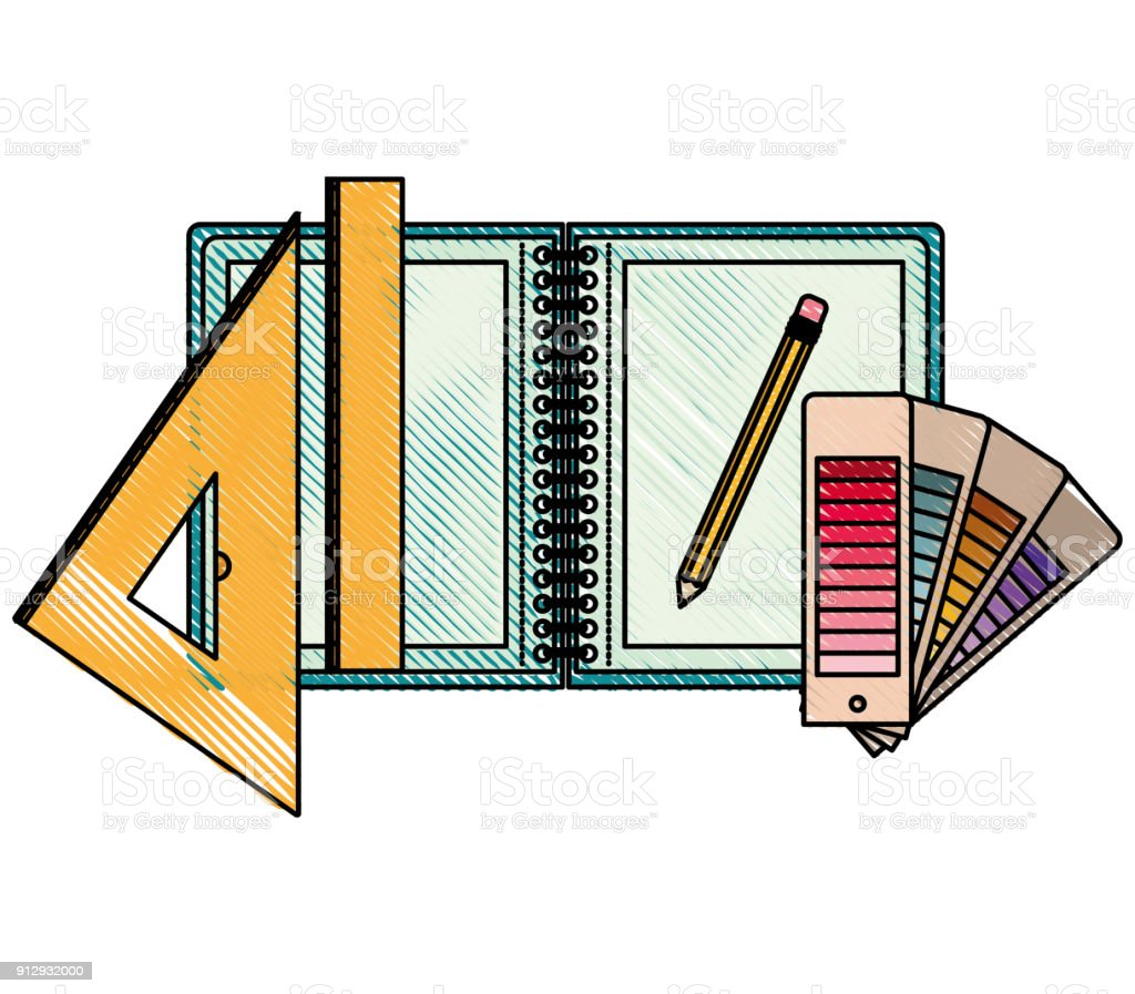 Drawing tools and notebook in colored crayon silhouette royalty free drawing tools and notebook in