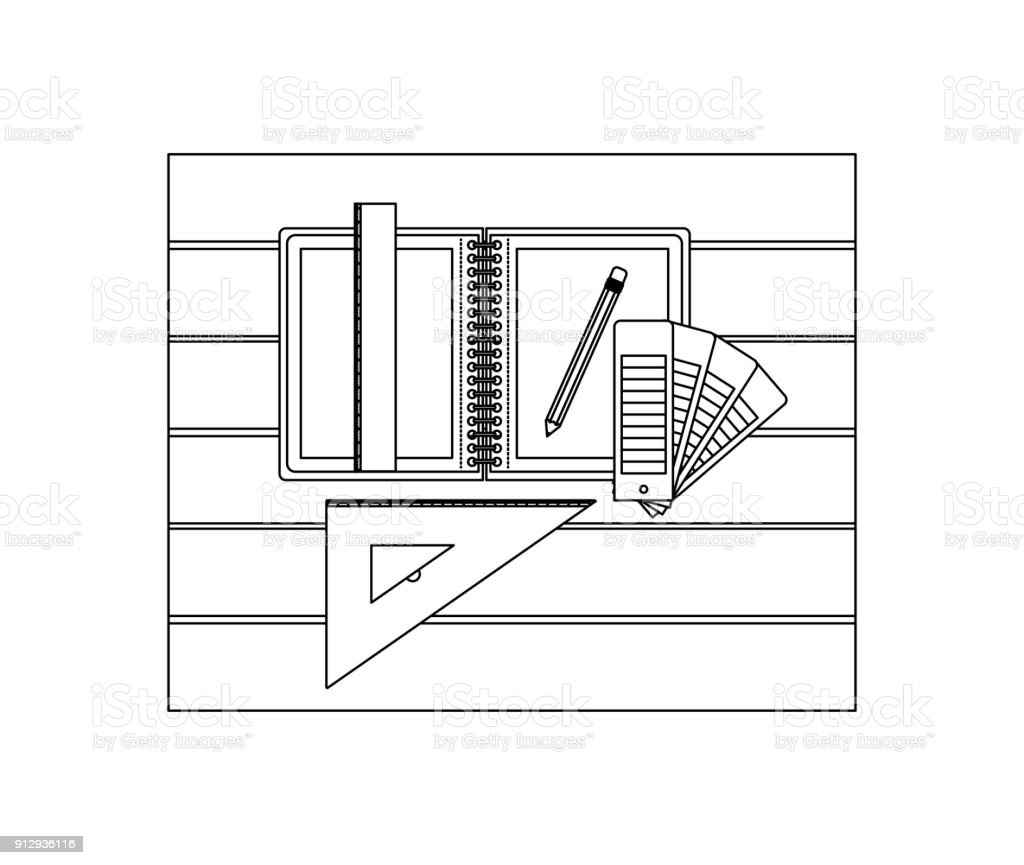 drawing tools. Drawing Tools And Notebook Over Table Top View In Black Contour Royalty-free