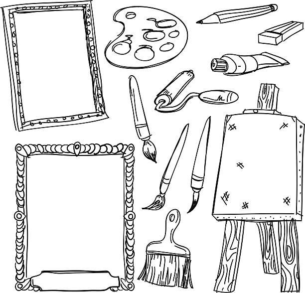 zeichnung tools kollektion in skizze stil - palettenbilderrahmen stock-grafiken, -clipart, -cartoons und -symbole