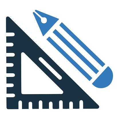 Drawing tools icon, education, geometry equipment