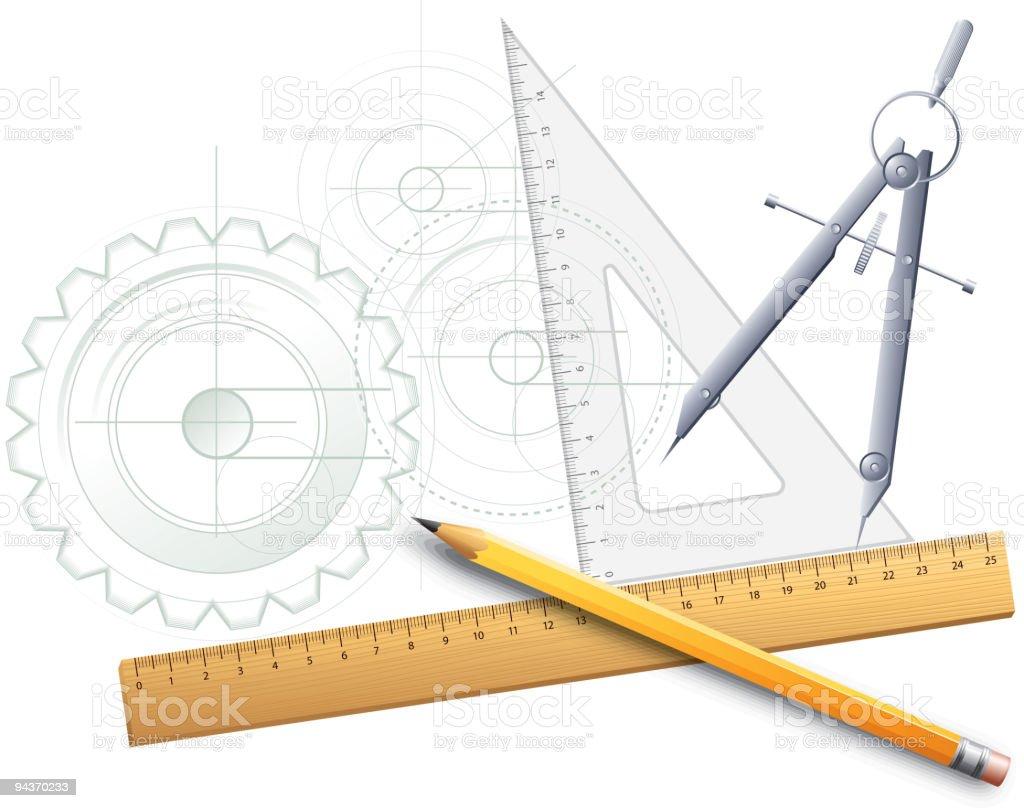 Herramientas de dibujo - ilustración de arte vectorial