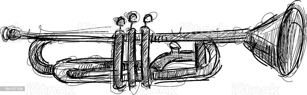 drawing trumpet royalty-free stock vector art