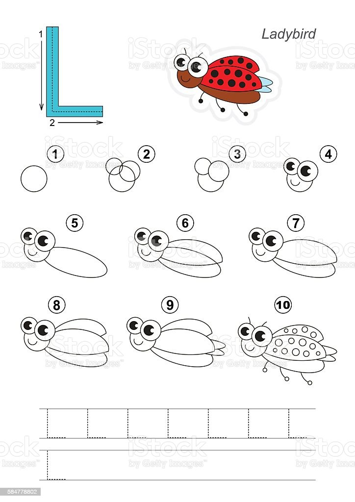 Drawing Tutorial Game For Letter L Funny Ladybug Stock ...
