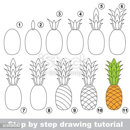 drawing tutorial ripe pineapple stock vector art more. Black Bedroom Furniture Sets. Home Design Ideas
