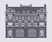 Drawing two-storey house in baroque style