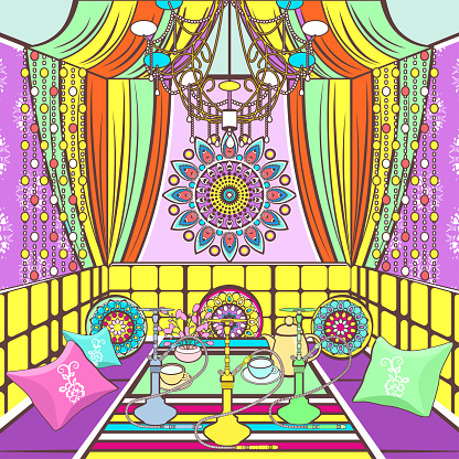drawing, vector illustration. Bright colorful room with sofa with pillows, decorated patterns and ornaments, table with hookah