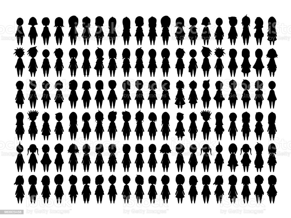 Drawing vector illustration People silhouette set eps10 vector art illustration
