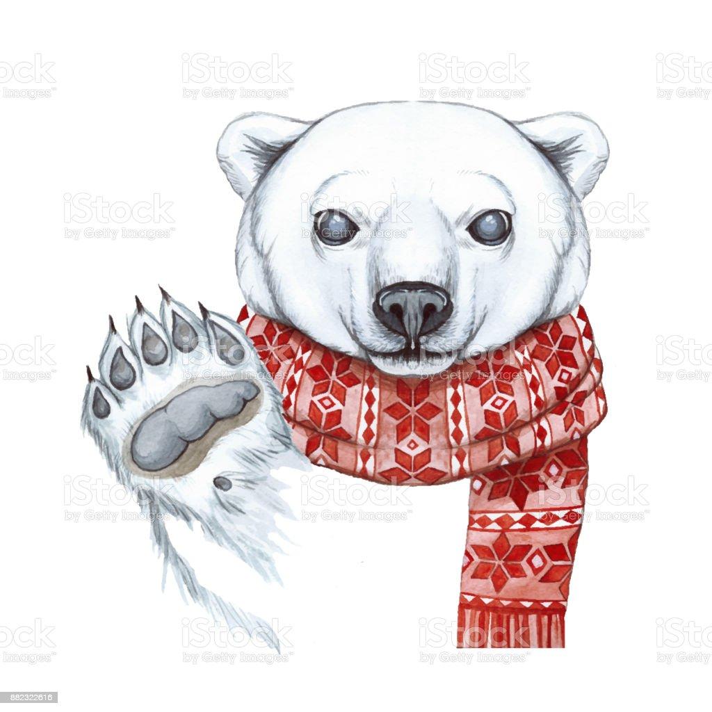 Ilustración de Dibujo Con Una Acuarela De Un Oso Polar En La Técnica ...