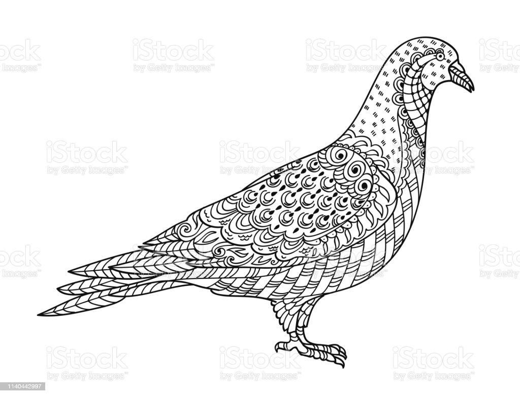 Ilustración De Dibujo Paloma Zentangle Para Colorear Libro