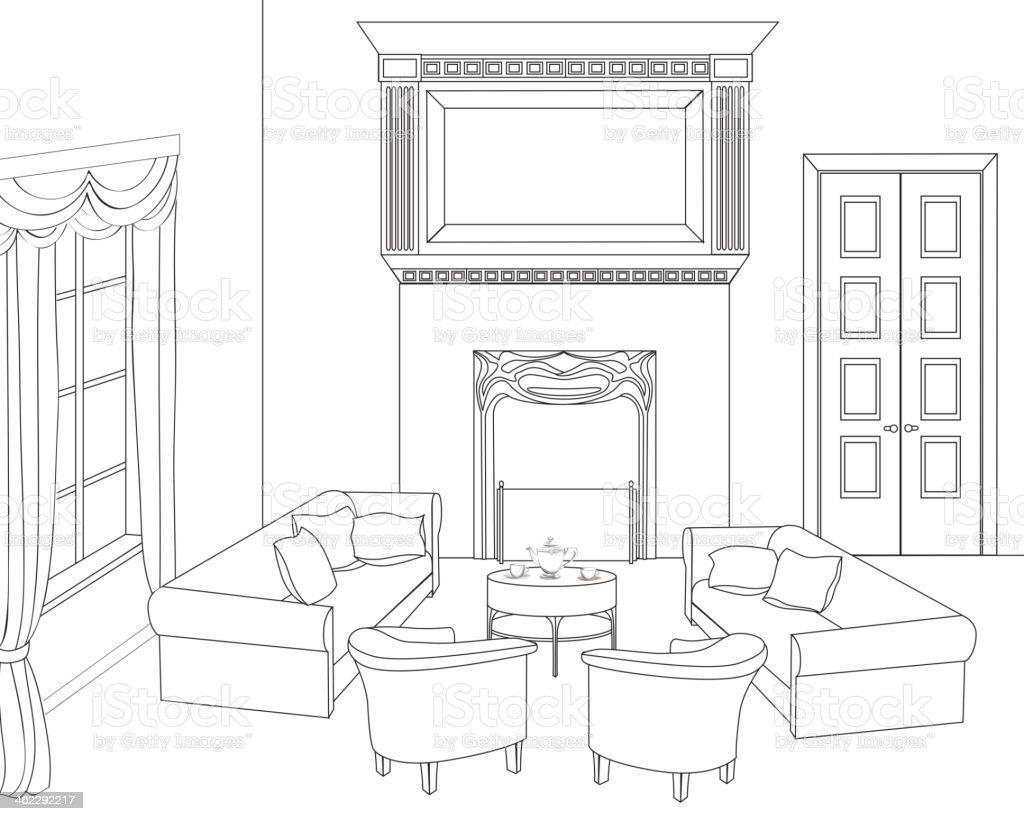 Dibujo habitaci n interior de la casa arte vectorial de - Habitacion para colorear ...