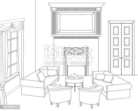 Dessin chambre int rieur de la maison ensemble vecteurs libres de droits et plus d 39 images - Dessin d interieur de maison ...