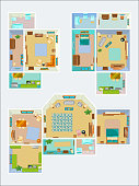 Drawings for the layout of the apartment. Top view vector pictures of kitchen, bathroom and living room. Plan of interior apartment house illustration