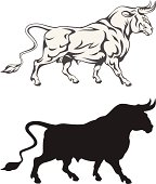 Drawings of a bull and a silhouette of the same picture