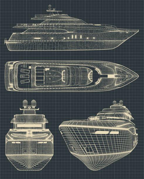 illustrations, cliparts, dessins animés et icônes de dessins d'un yacht modern - voilier à moteur