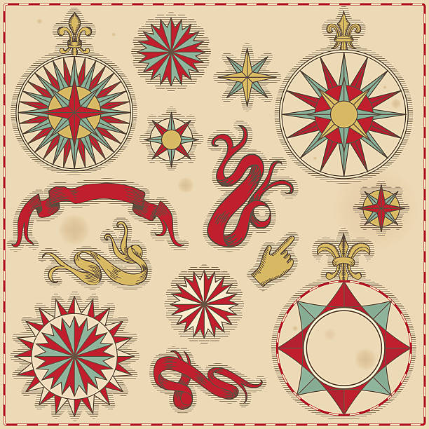 drawings of antique navigation elements such as compasses - treasure map backgrounds stock illustrations