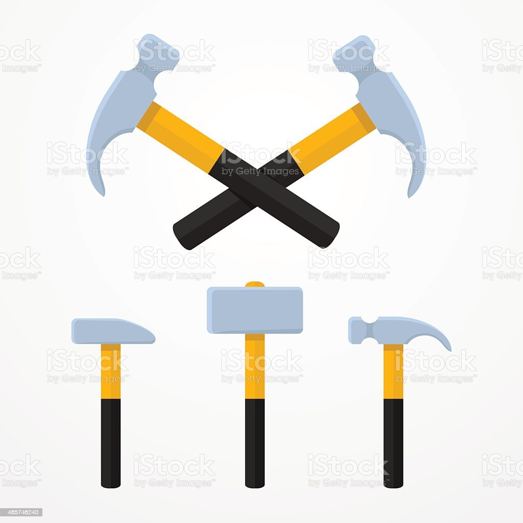 Drawings of black and yellow hammers vector art illustration