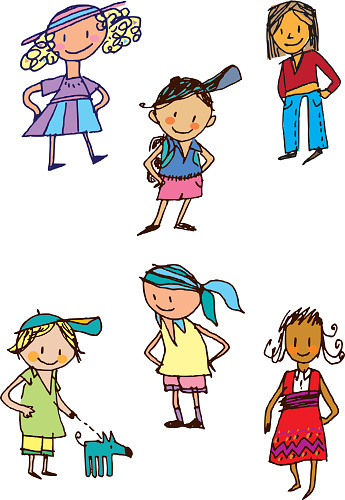 Drawings of children from different cultures