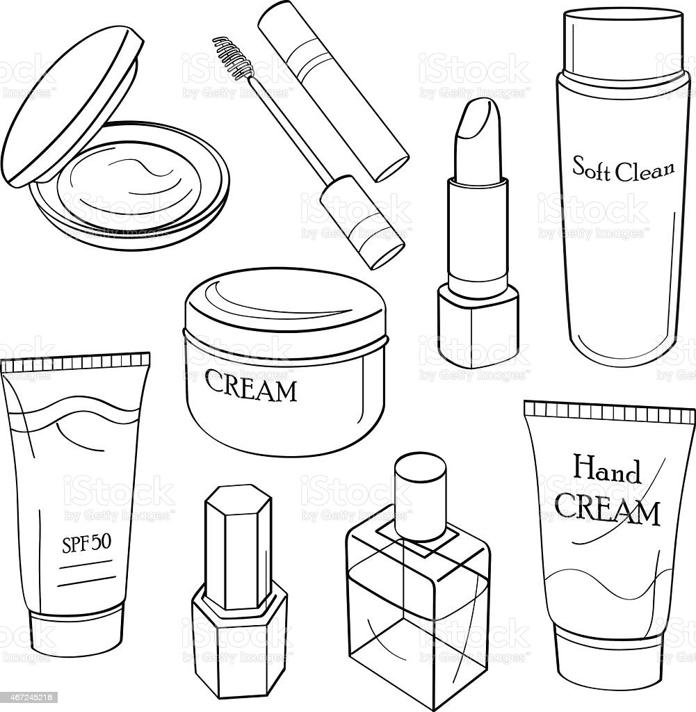 Drawings of cosmetic containers in black and white vector art illustration