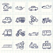 Drawings of different vehicles on a graph paper