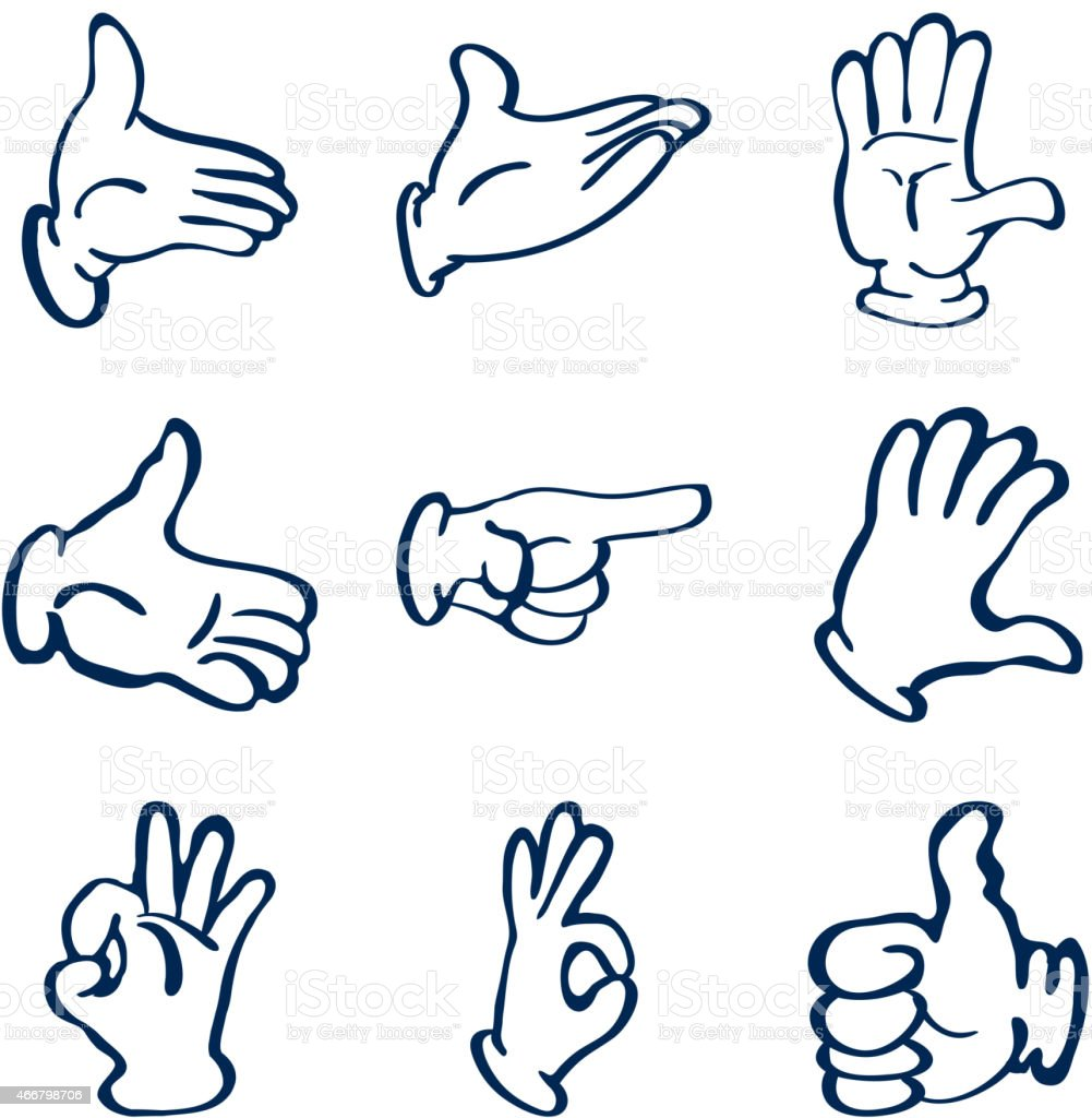 Drawings of gloved hands in different poses vector art illustration