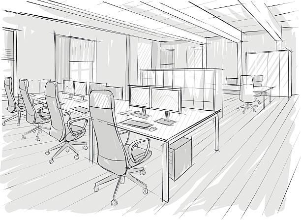 Drawings of office interior vector art illustration