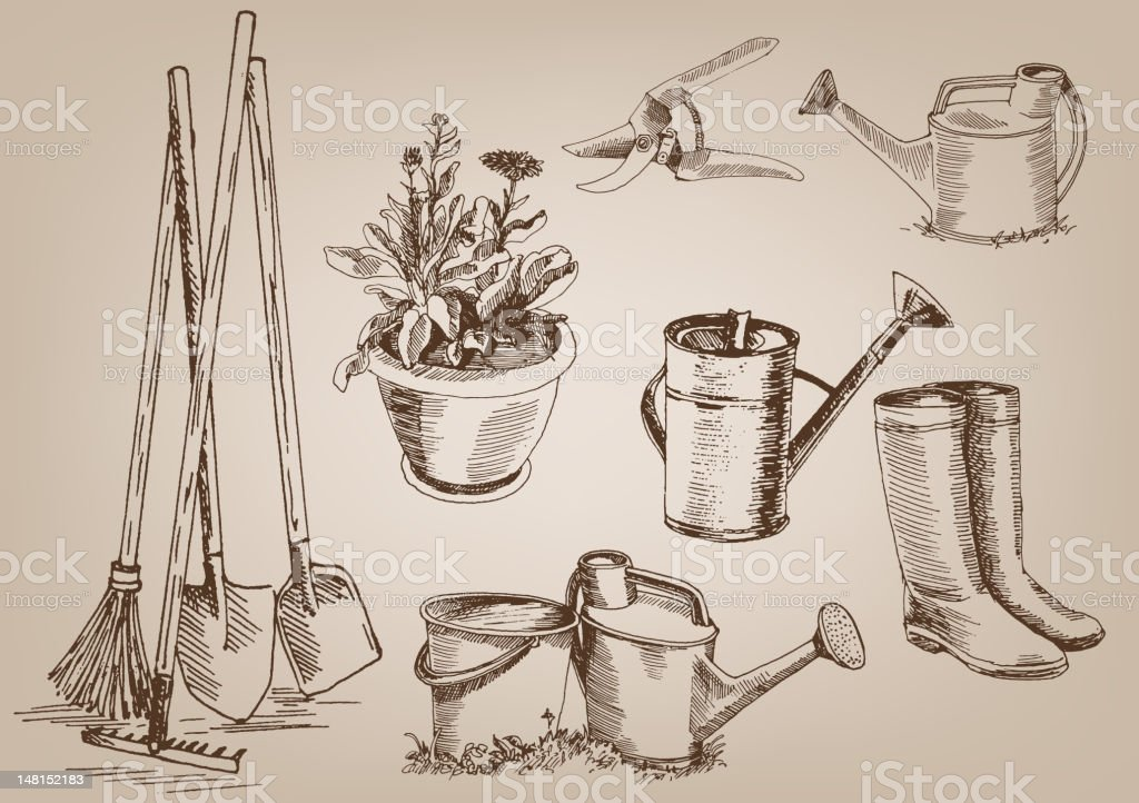 Drawings of several garden tools vector art illustration