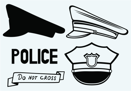 Drawings of three police caps and hats