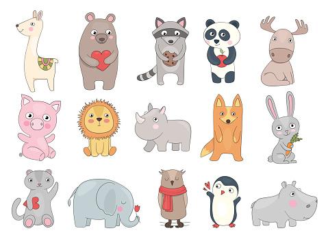Drawn animals. Cute illustration of funny wild animals teddy bear crocodile toys for kids vector set