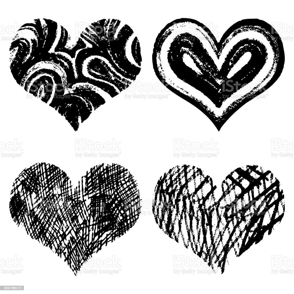Drawn Black Hearts Silhouette On White Background Symbol Of Love In