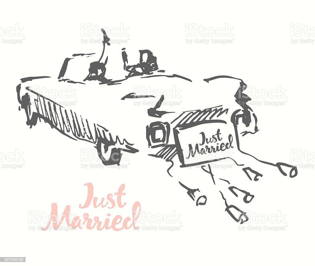 Drawn bride groom old fashioned car vector sketch vector art illustration