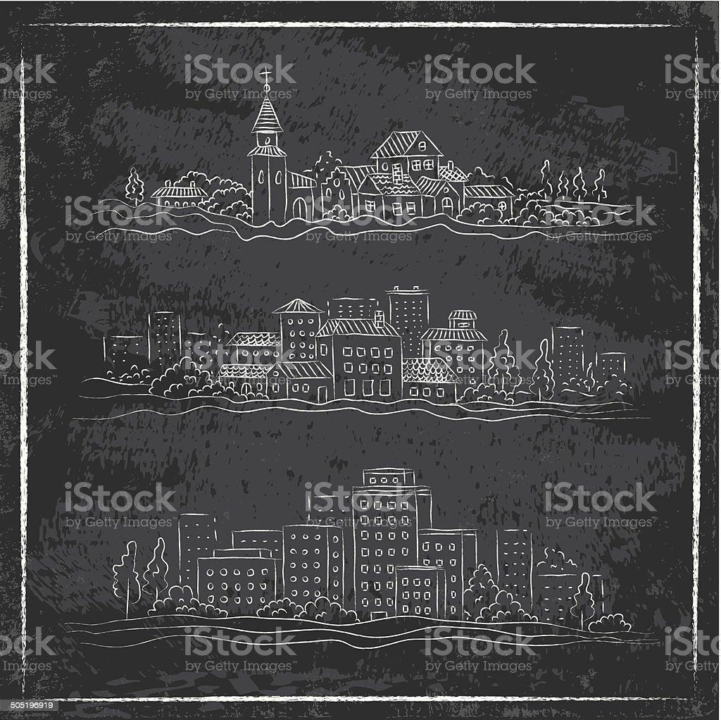 drawn city vector art illustration
