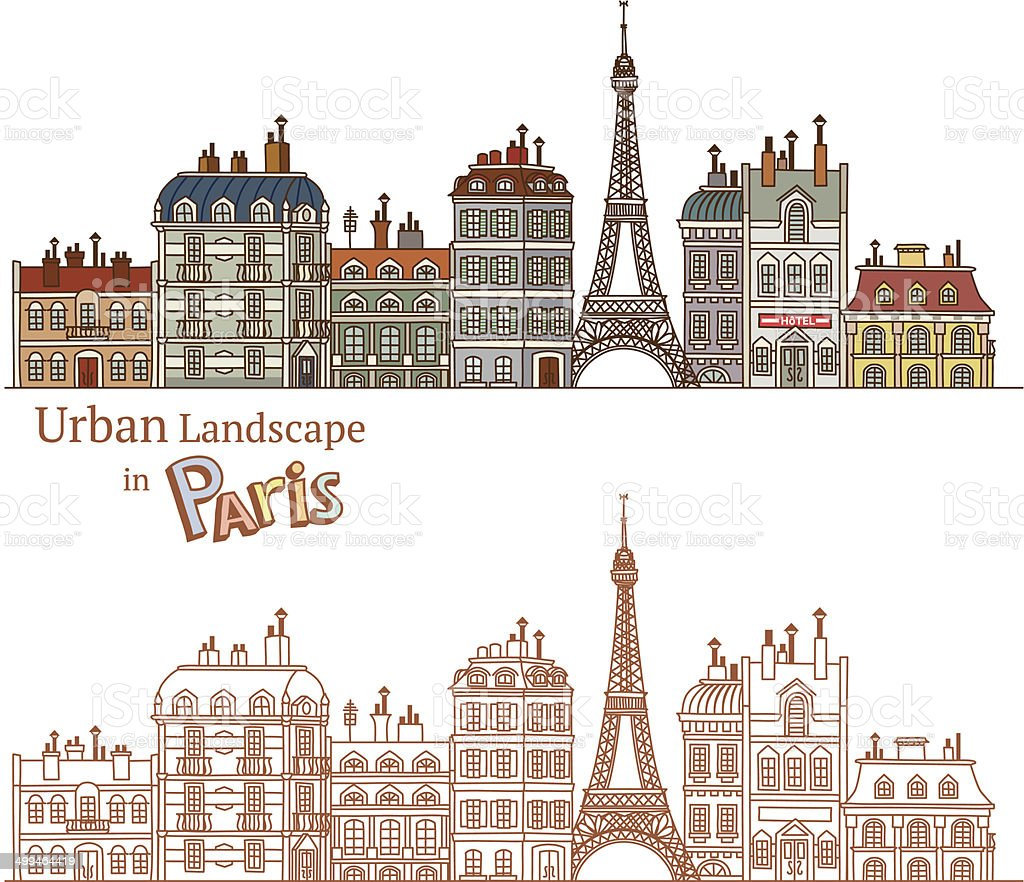 Drawn Cityscape in Paris vector art illustration
