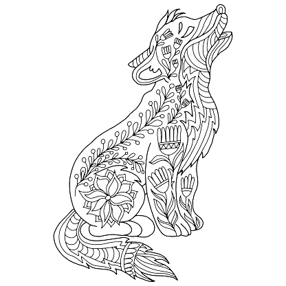 drawn dog with floral ornaments on a white background for coloring, vector