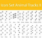 Drawn Doodle Lined Icon Set Animal Tracks II