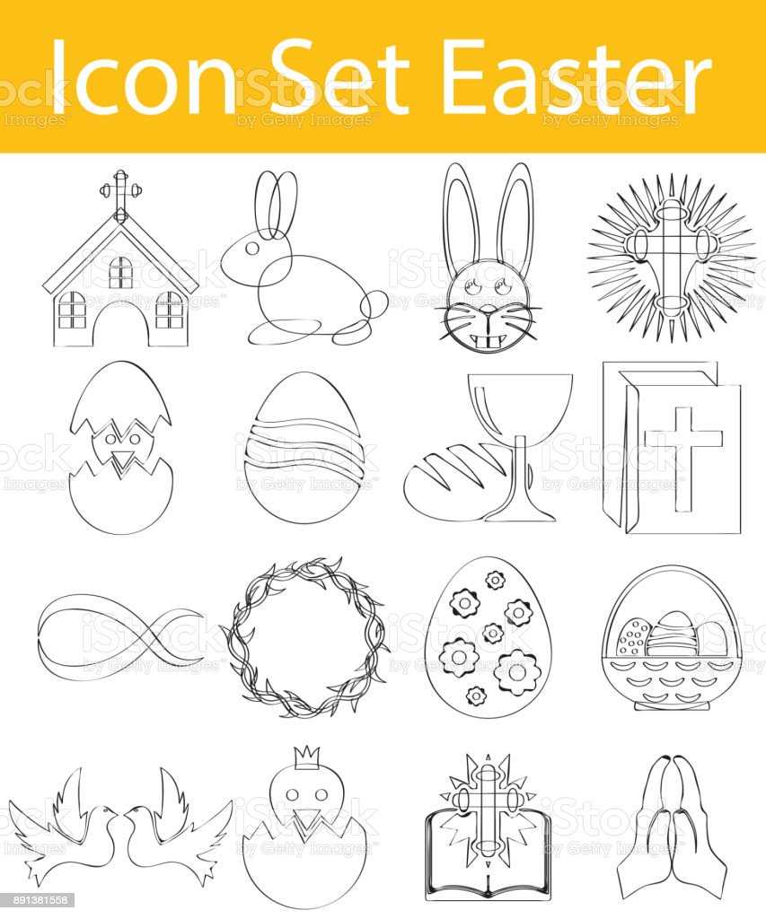 Drawn Doodle Lined Icon Set Easter I vector art illustration