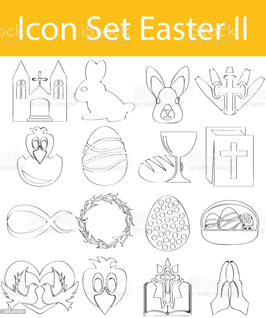 Drawn Doodle Lined Icon Set Easter II vector art illustration