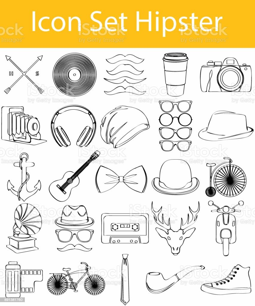 Drawn Doodle Lined Icon Set Hipster vector art illustration