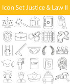 Drawn Doodle Lined Icon Set Justice & Law II with 25 icons for the creative use in graphic design