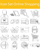 Drawn Doodle Lined Icon Set Online Shopping with 20 icons for the creative use in graphic design