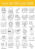 Drawn Doodle Lined Icon Set SEO and SEM
