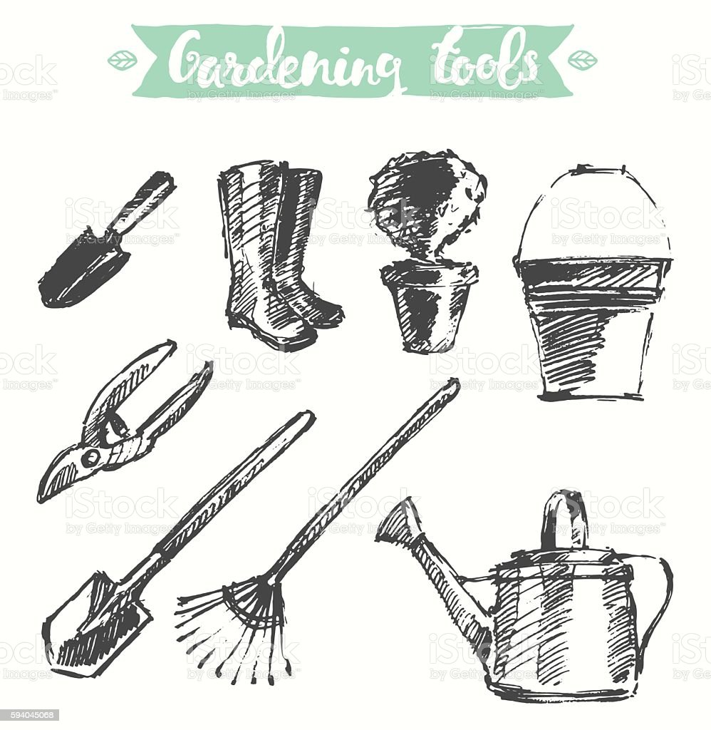 Drawn gardening tools vector illustration, sketch. vector art illustration