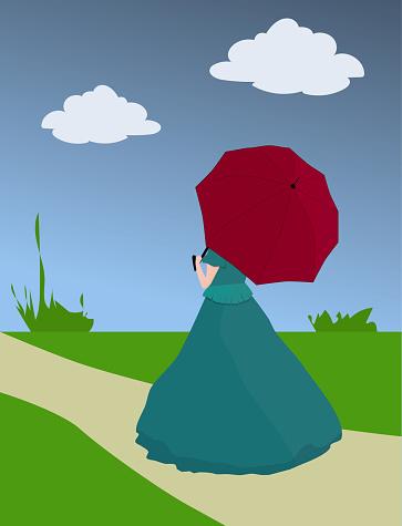 Drawn girl in crinoline and umbrella walking on footpath, vintage vector eps 10
