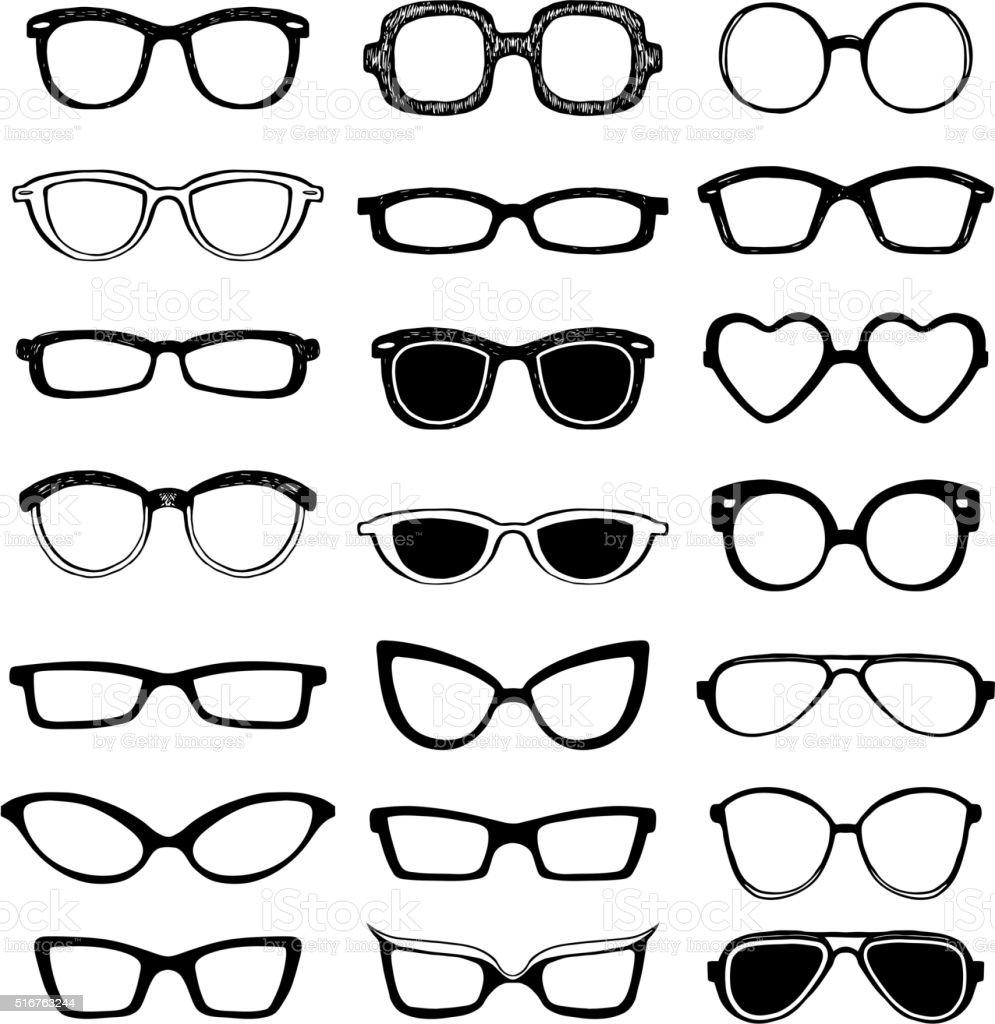 Drawn glasses vector set vector art illustration