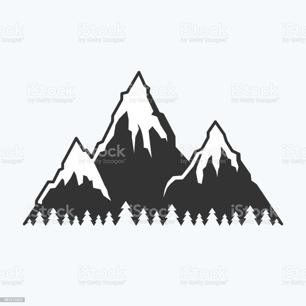 Drawn graphic icon of the tops of mountains for design. Summer camp,...