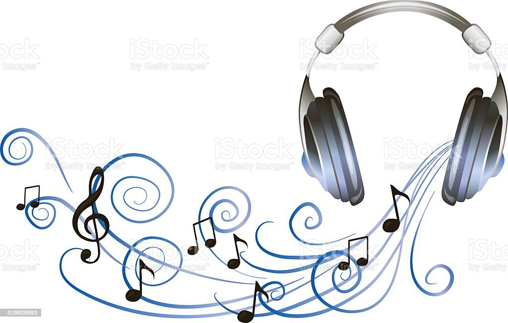 Headphones Music Notes: Drawn Headphones With Waves Of Music And Notes Stock