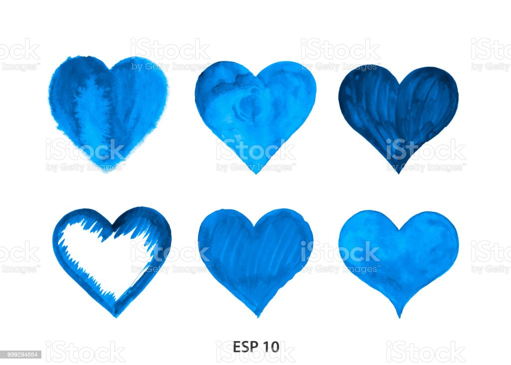 Drawn heart from watercolor blue vector art illustration