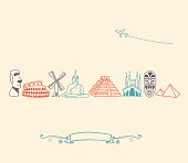 Drawn international landmark and travel icons in colors