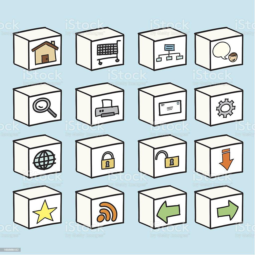 Drawn Internet Icon Cube Set royalty-free stock vector art